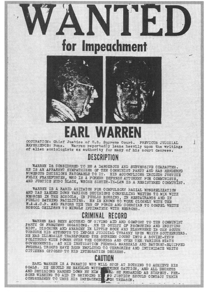 """Poster in San Francisco Calling for Chief Justice Warren's Impeachment: Here he is accused of subversion, """"Racial Mongrelization"""", compelling whites to mix with ******* in school, and imposing judicial tyranny among white southerners."""