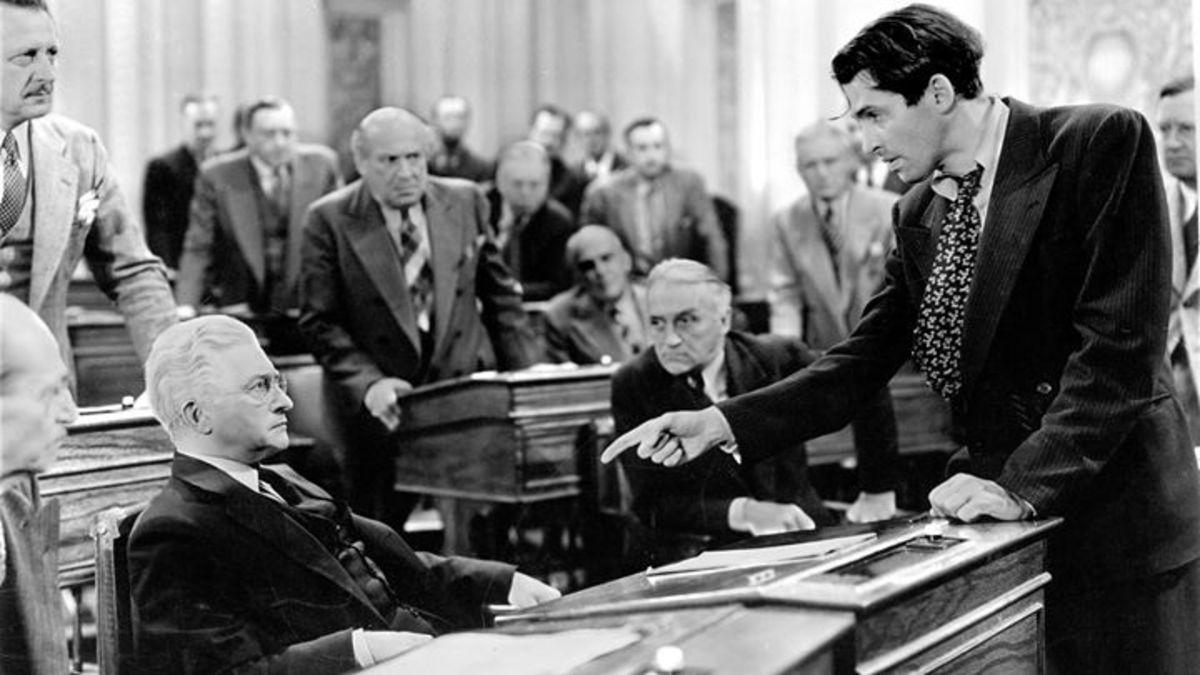 James Stewart telling Claude Rains in the Senate Chamber