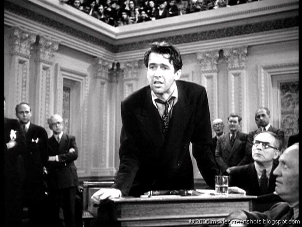 James Stewart as Sen. Smith is by now extremely tired.