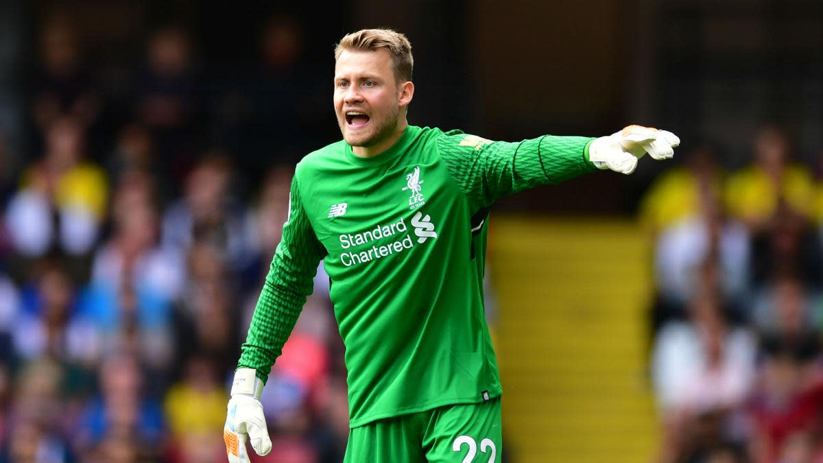 Simon Mignolet instructing the defenders during a match for Liverpool FC.