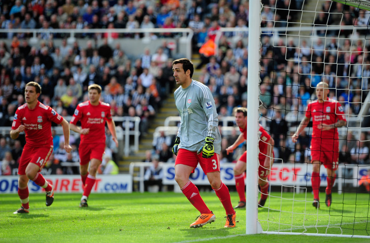 Liverpool defender, Jose Enrique in goal against his old club, Newcastle United.
