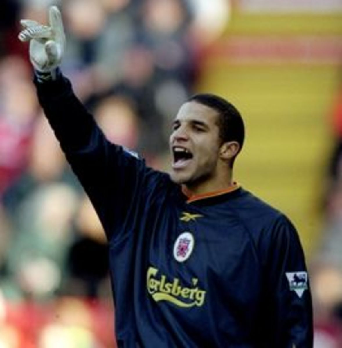 David James during a match with Liverpool FC.