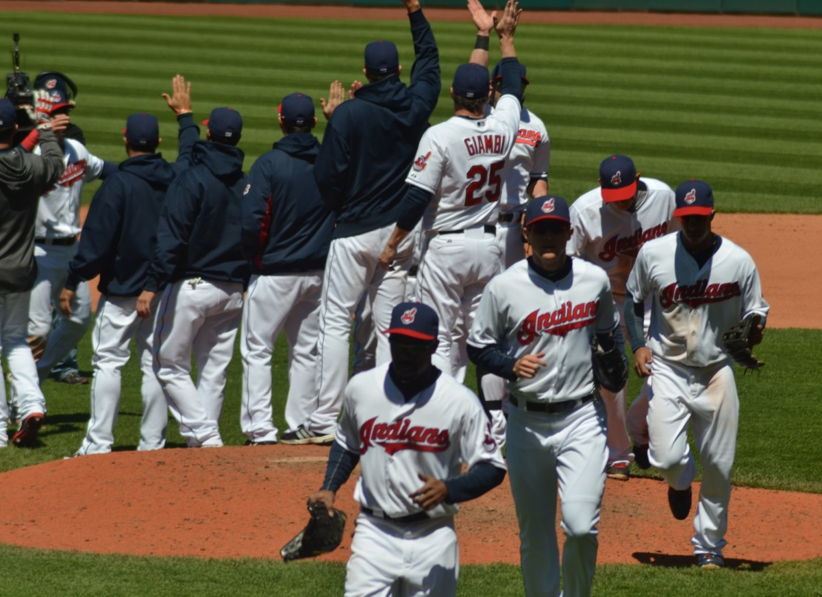 The Indians celebrate a win in 2013, the campaign which broke a five-year stretch of seasons at or below .500.