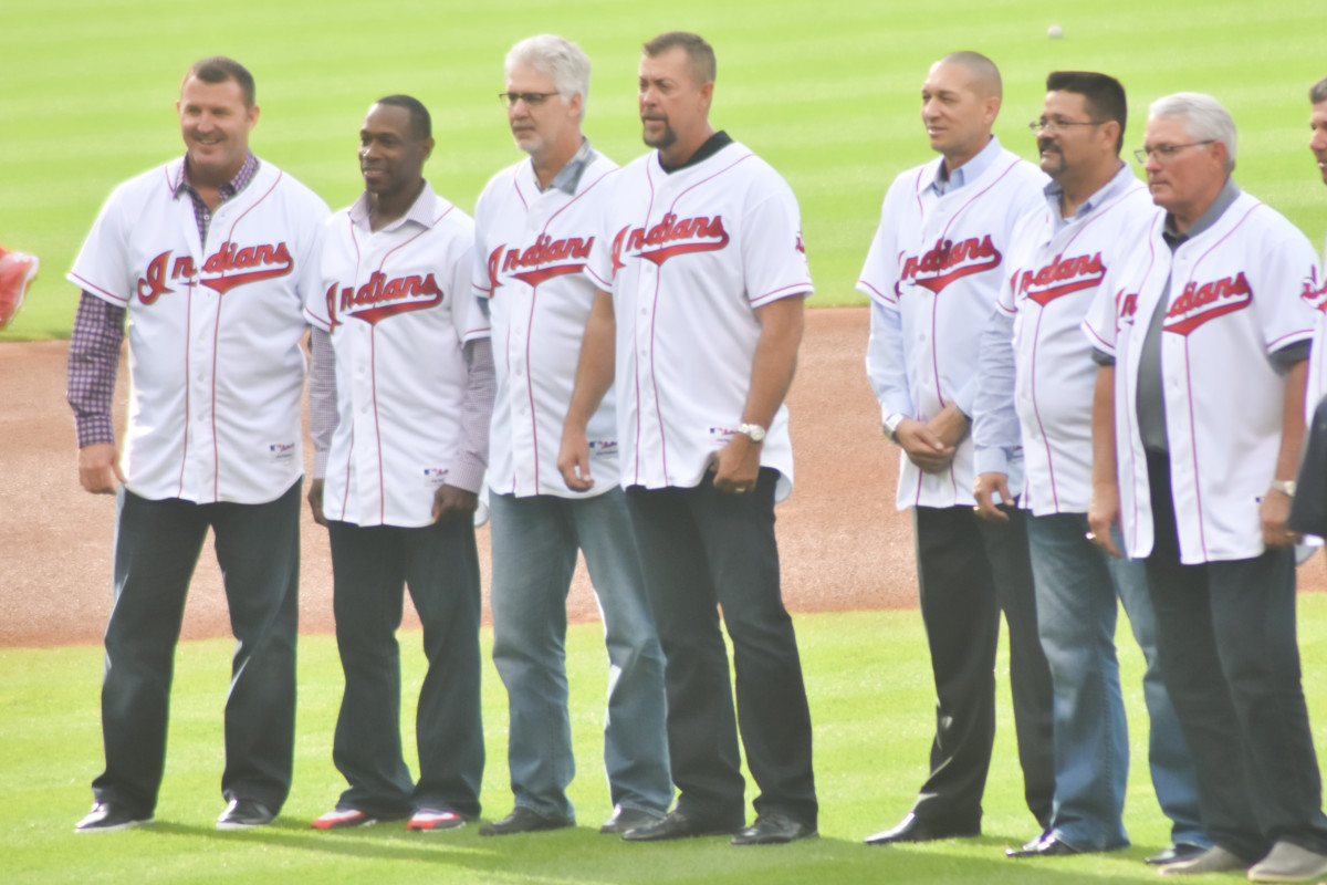 Members of the 1995 Indians roster are honored at a 20th anniversary celebration in 2015.