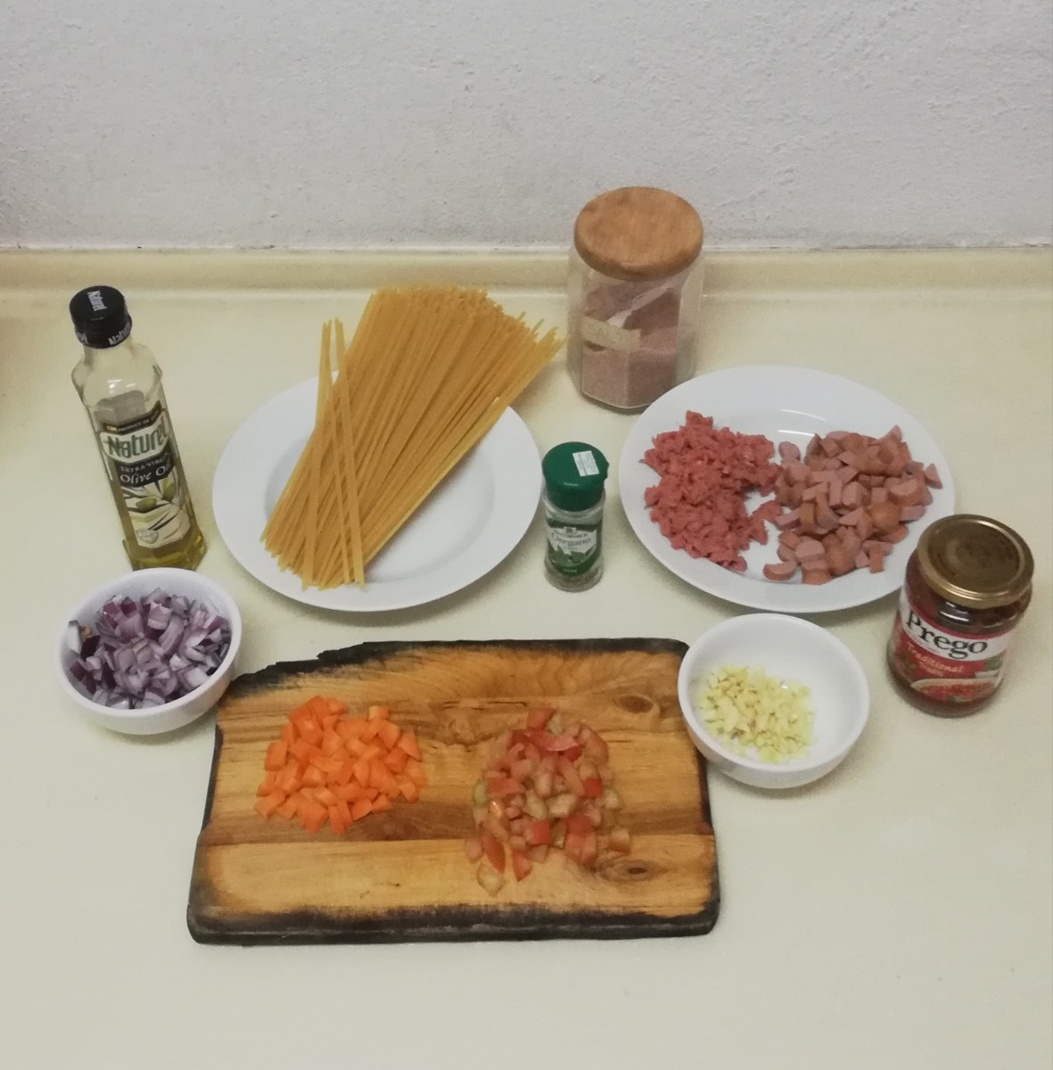 Ingredients laid out for the pasta