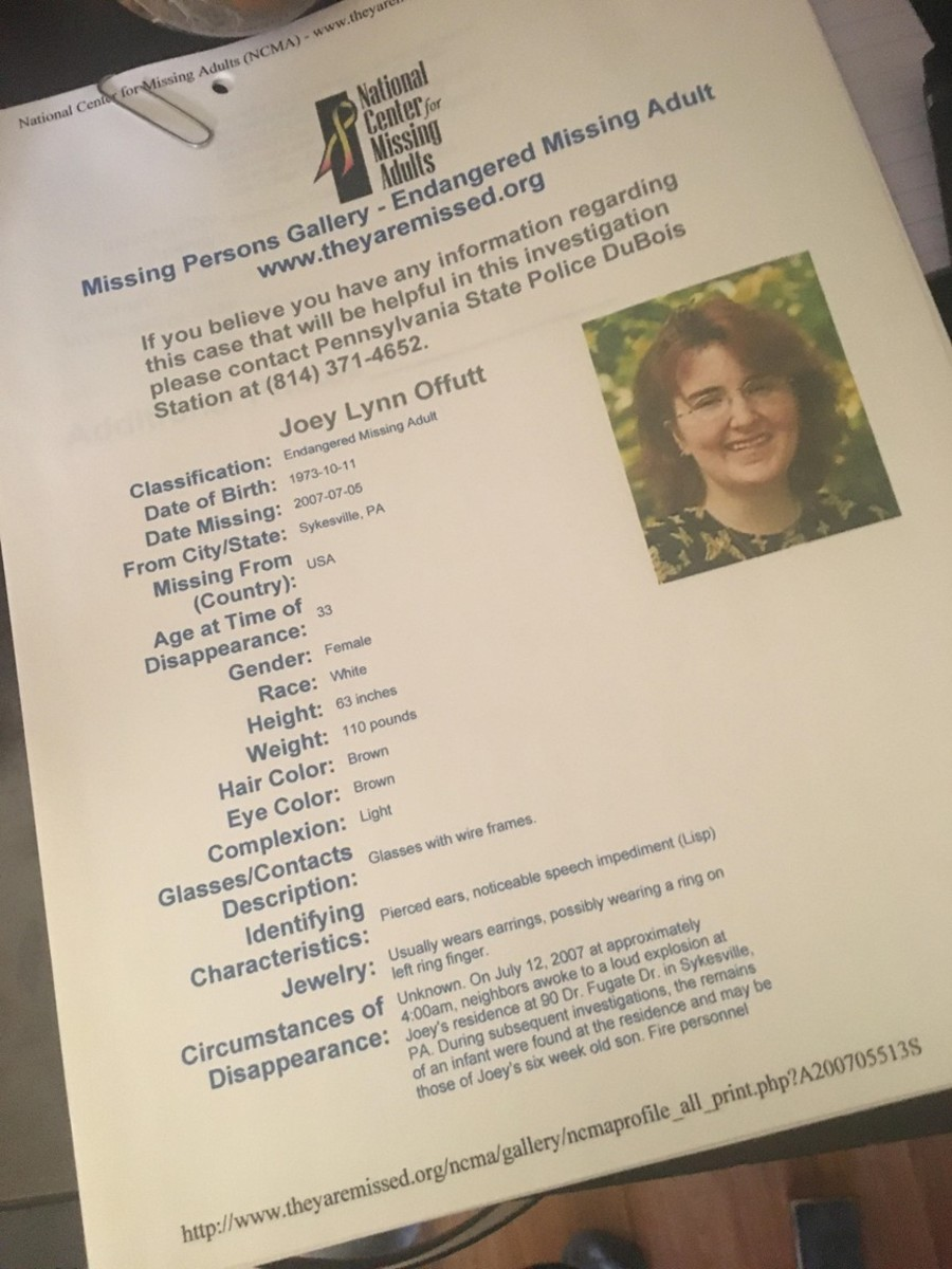 Joey Lynn Offutt was listed on a national website and fliers generated to distribute nationwide. Photo courtesy of the National Center for Missng Adults.