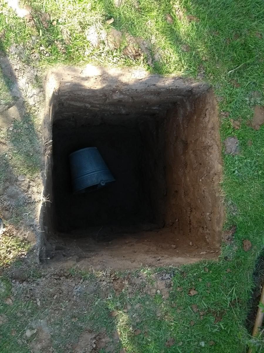4 foot hole finally dug.