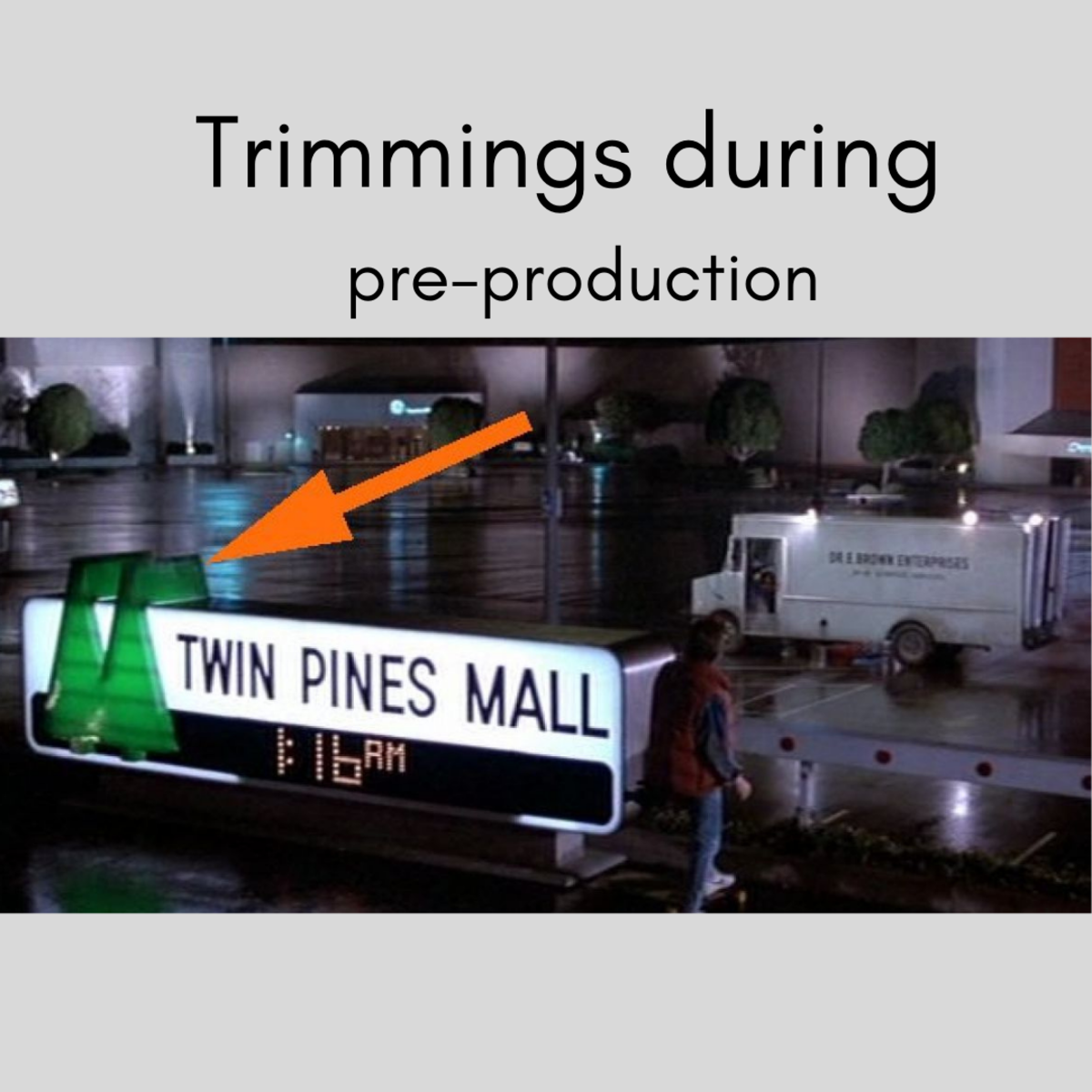 A scene from Back To The Future where it points out the small elements to the movie.