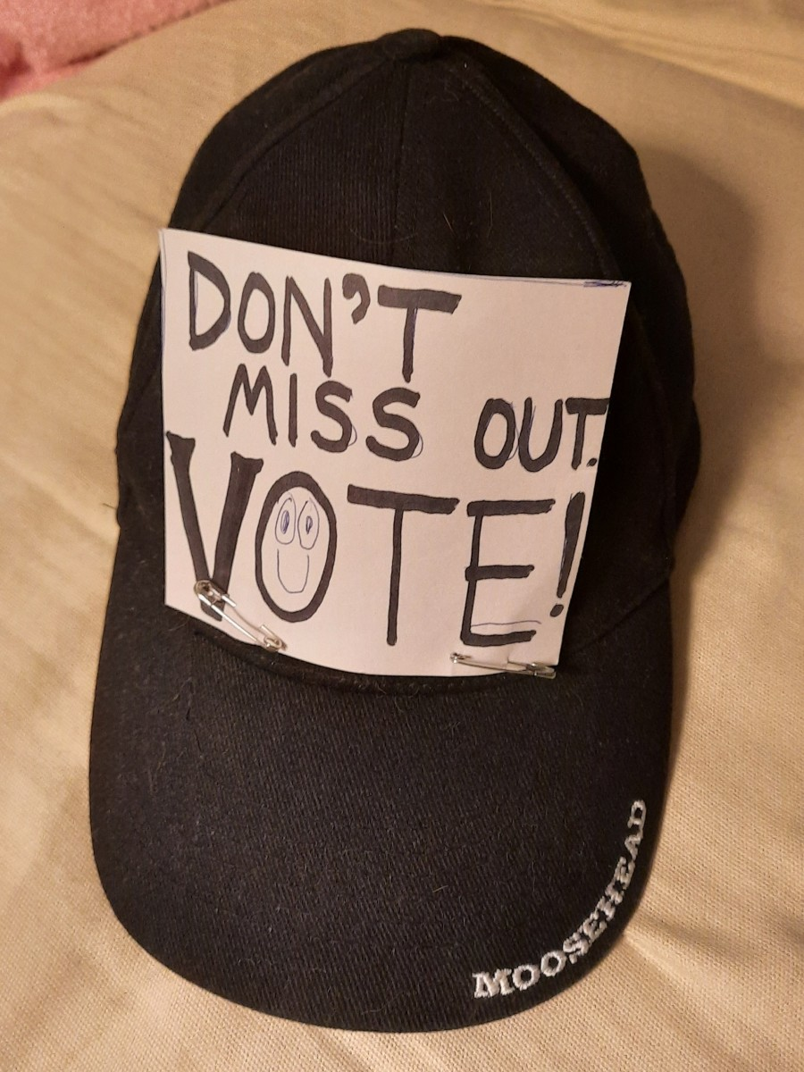 Using the FOMO message (Fear Of Missing Out) on my hat to encourage voting.