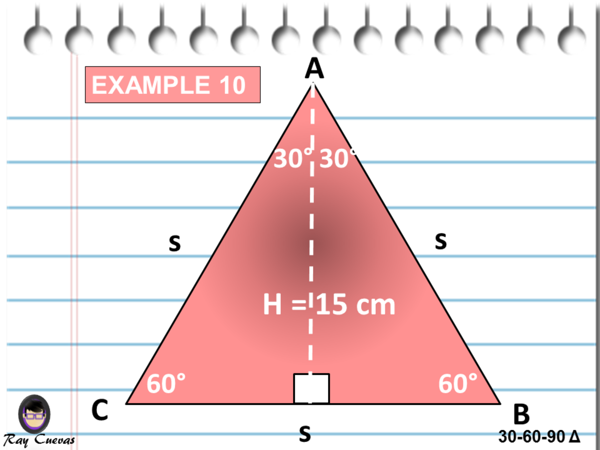 Finding the Length of Sides and Area of an Equilateral Triangle Using the 30-60-90 Triangle Formulas
