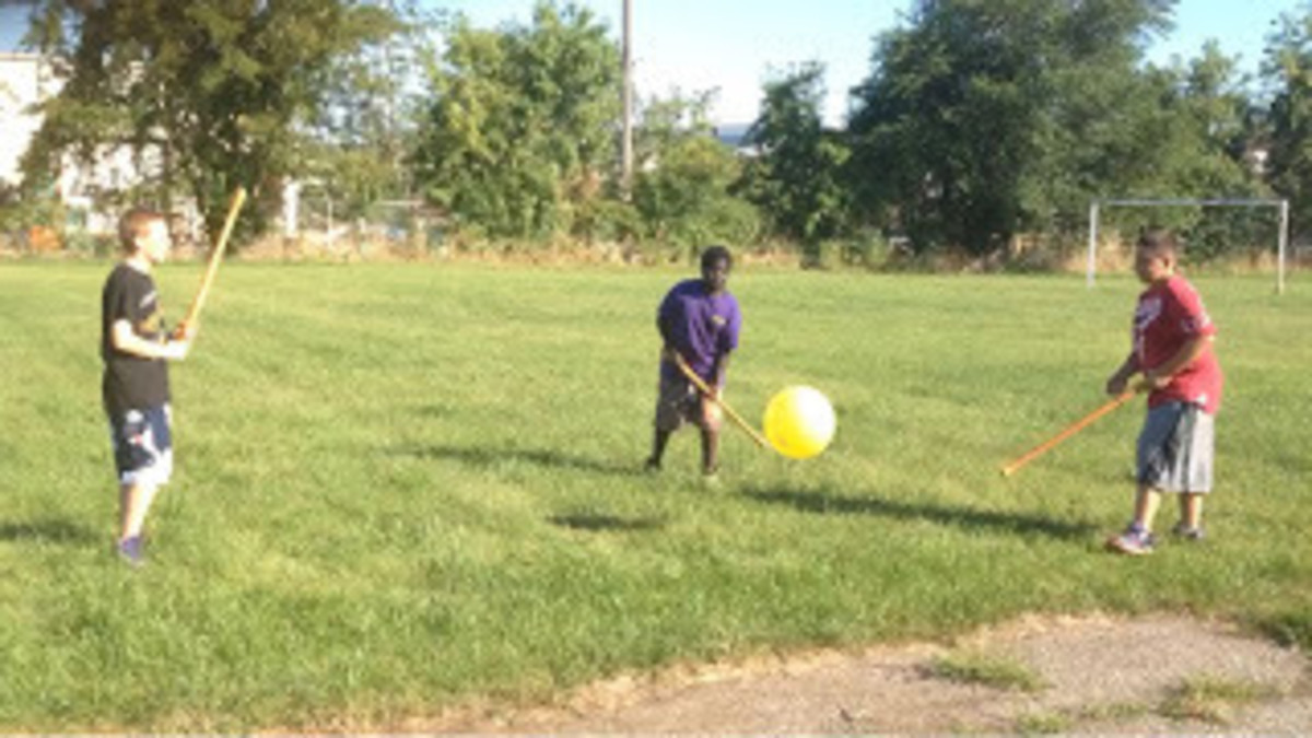 Student demonstrating how to play Bounce and Pass