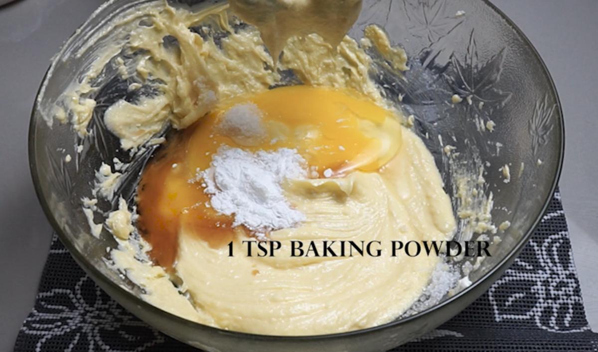 Next, add the egg, vanilla extract, baking powder, and baking soda.