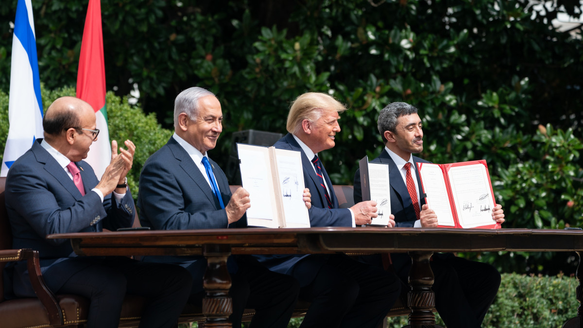 President Trump at the signing ceremony of the Abraham Accords, a peace agreement between Israel and the UAE, on September 15th