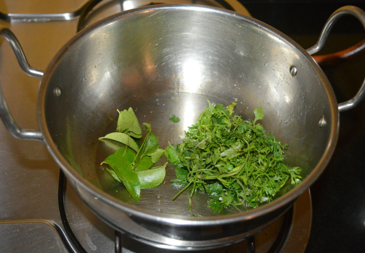 Add curry leaves and coriander leaves. Saute until the curry leaves are cooked. Turn off the heat.