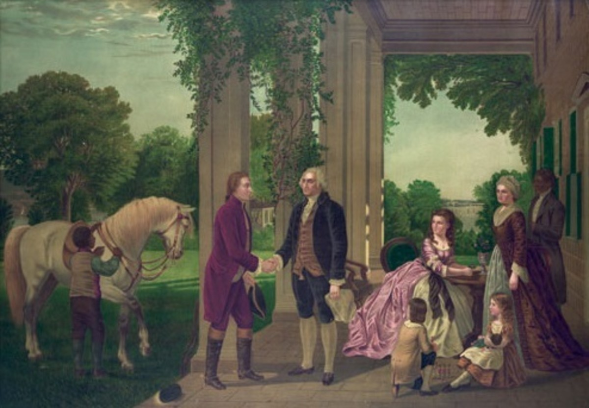 George Washington welcoming Marquis de Lafayette to Mount Vernon; Martha Washington, children, and servants are on the right