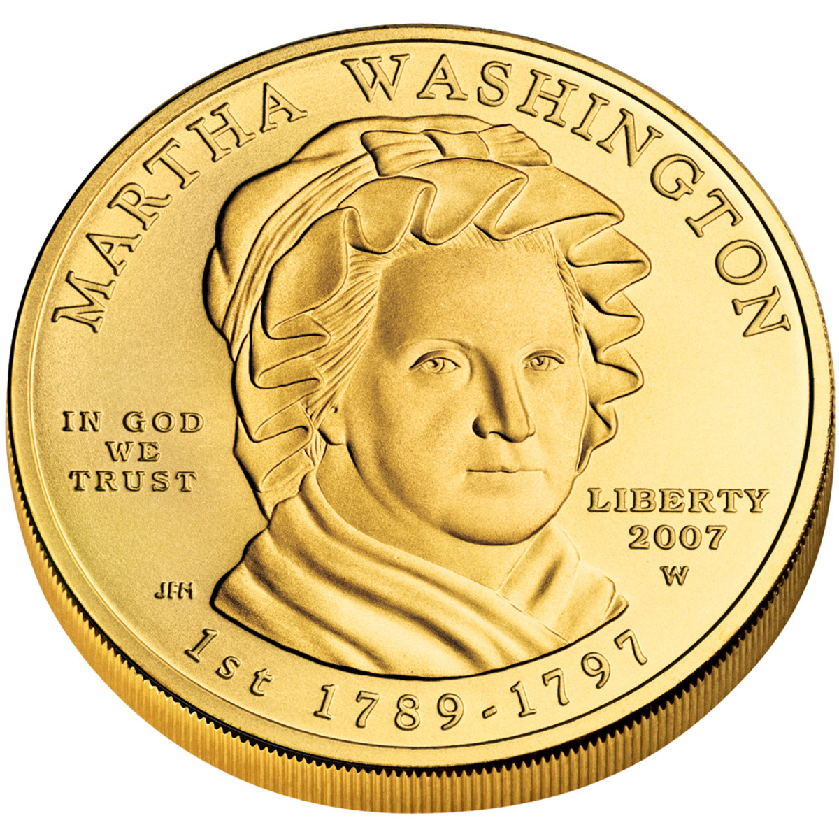 The United States First Spouse Program gold coin for Martha Washington.