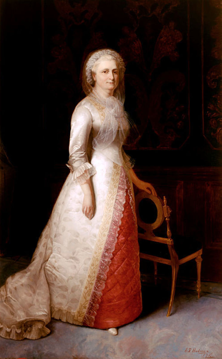 Martha Washington in a painting by Eliphalet F. Andrews in 1878.
