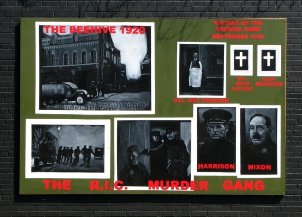 A mural referring to sectarian murders by members of the RIC in Belfast in 1920–22