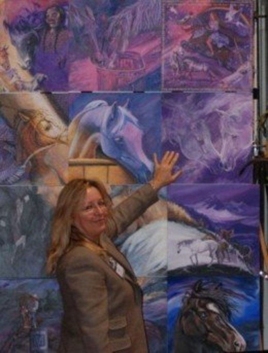 Artist Michelle Grant touching my Panel