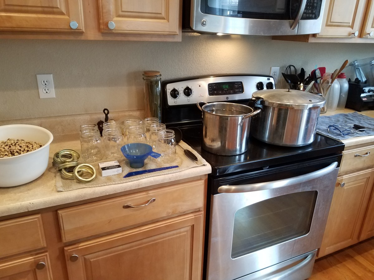 Step Six: Set up your canning station. You'll need your pressure canner and a large pot of boiling water.