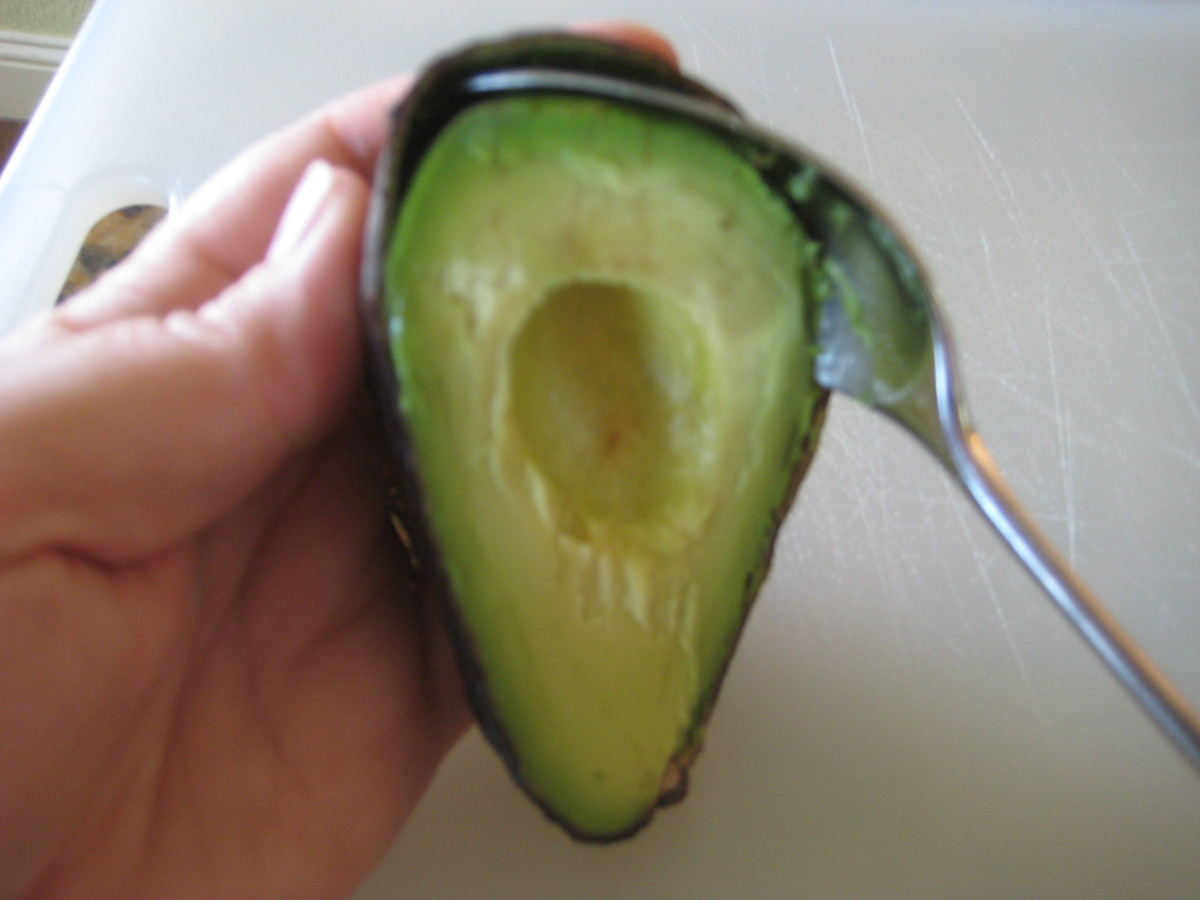 If the avocado is ripe, the flesh scoops out easily from the skin.