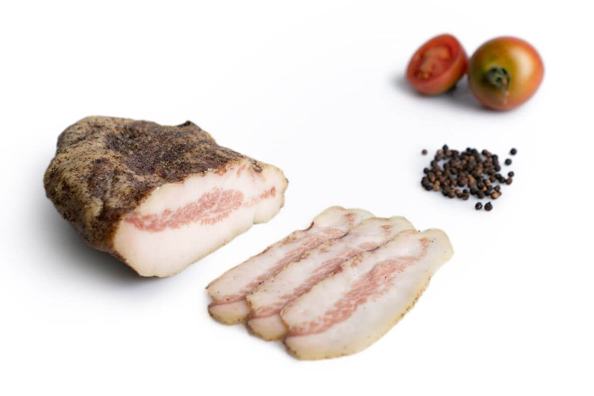 Guanciale is a seasoned Pork Jowl, it is then smoked before going on sale.