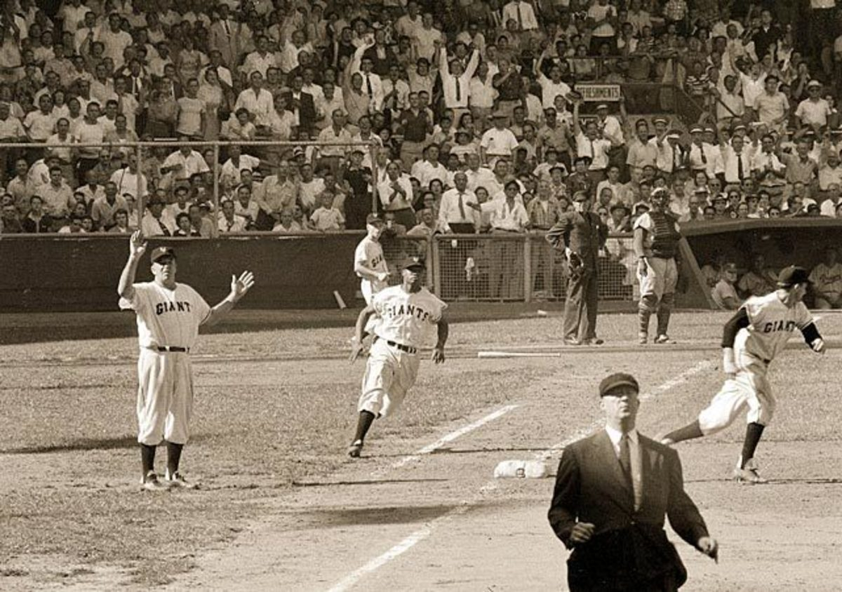 Hank Thompson rounds first during the 1954 World Series.