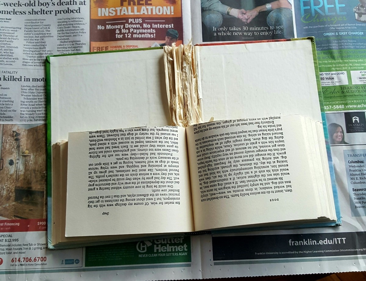 Cut or rip out half of the pages. Lay the book flat with the cut side away from you.