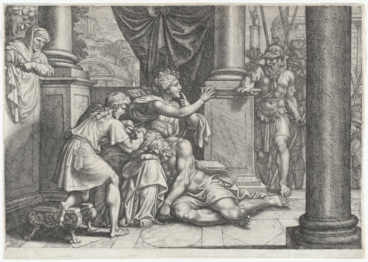 Delilah, with Samson asleep on her lap and a barber cutting his hair, gestures to the Philistine rulers to be quiet as they come to capture him.