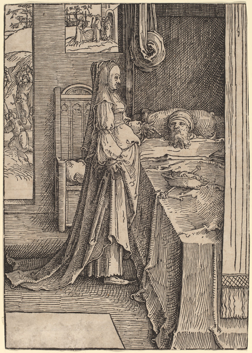 """Jezebel Promising Naboth's Vineyard to King Ahab,"" who is in bed sulking.  A very sixteenth century, Dutch version of this scene."