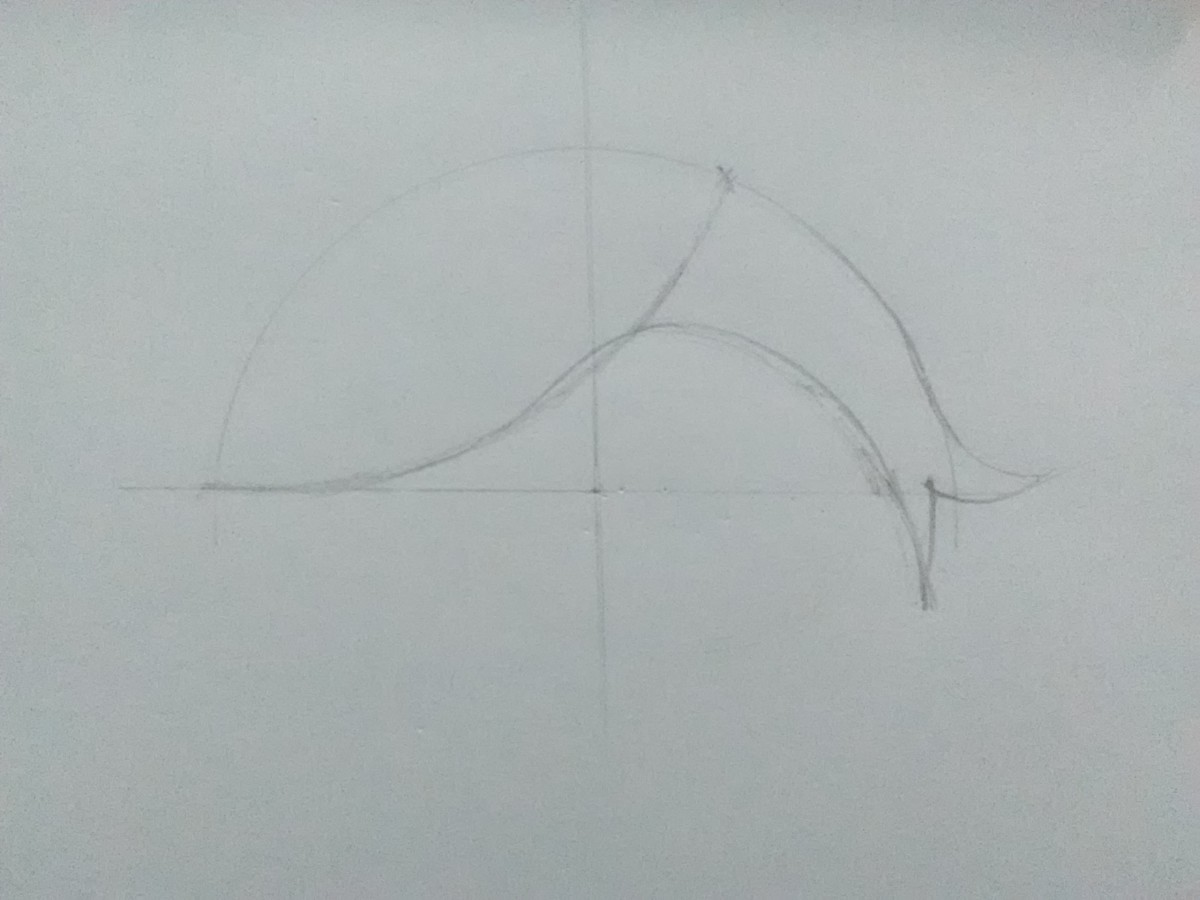 Join the ends of the semicircle and the second arc with it.