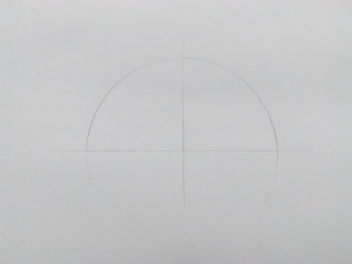 Step 1: Draw a semicircle. Divide it into two halves by a midline.