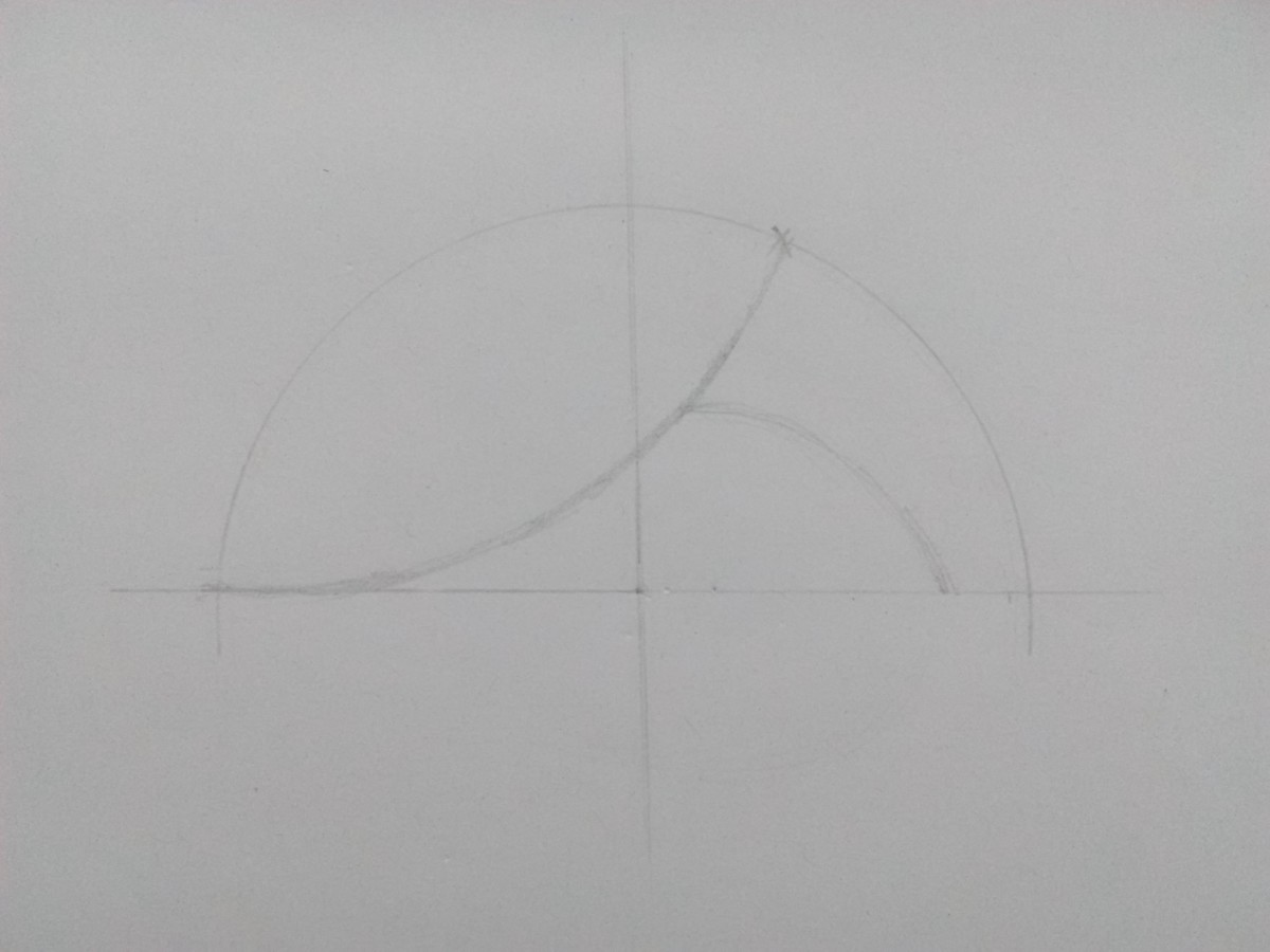 Step 3: Draw another arc which starts on the previous arc and ends little behind the other end of the semicircle.