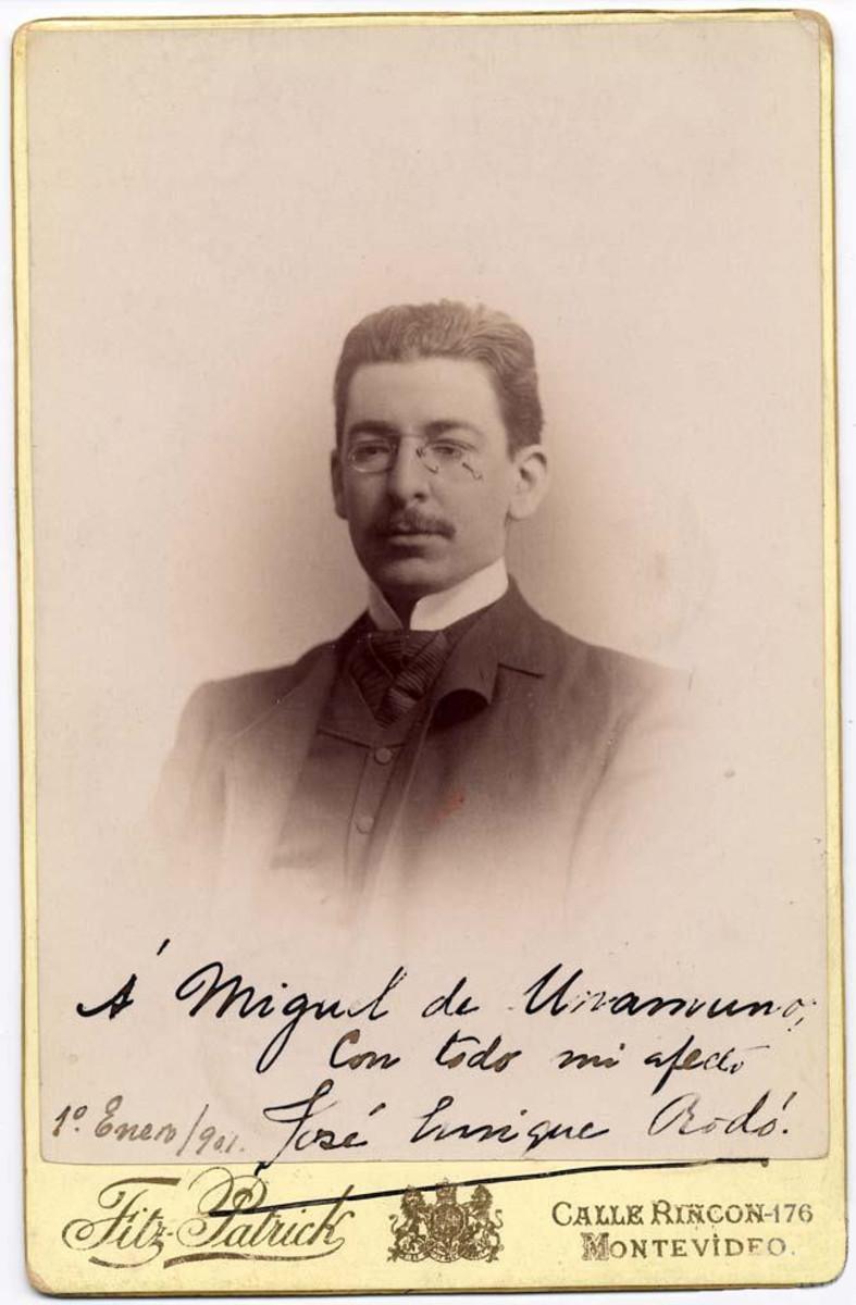 Photo of Uruguayan essayist José Enrique Rodó dedicated to Miguel de Unamuno