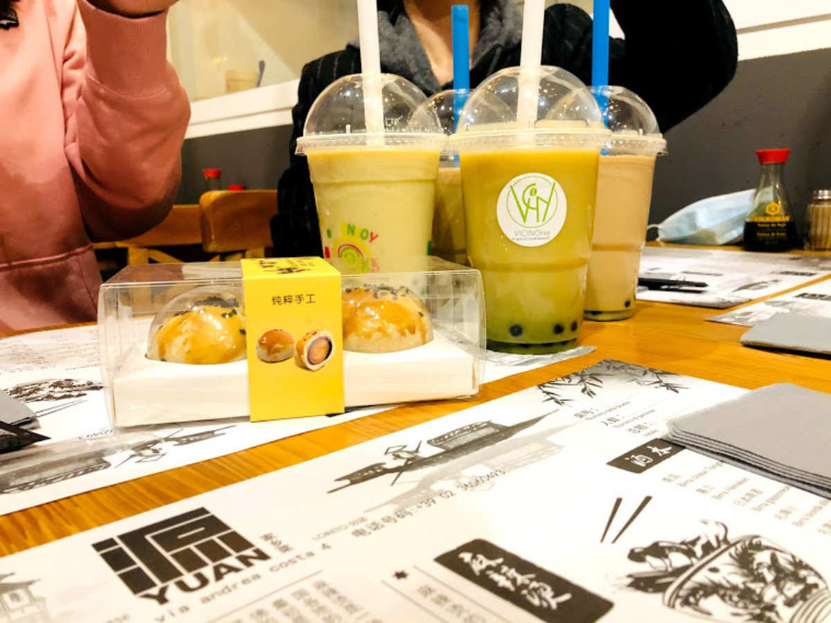 Some milk tea beverages at a Mid-Autumn Festival Chinese dinner