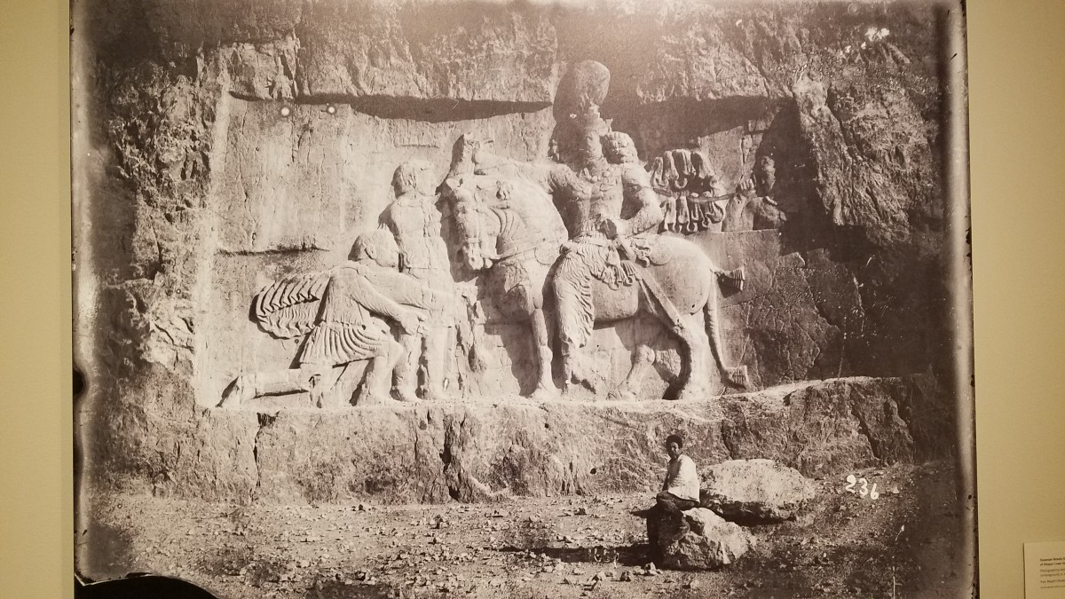 A photograph taken by Antoin Sevruguin of a Sasanian relief depicting the Triumph of Shapur I over valerian.