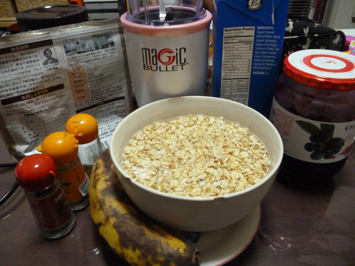 The ingredients: chia seeds, soy milk, jam, soaked oats, banana, spices