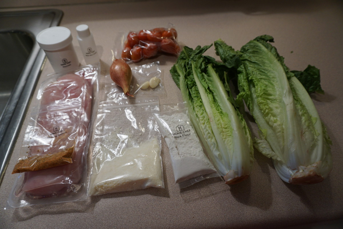 Ingredients for two servings of the Blackened Chicken Salad.