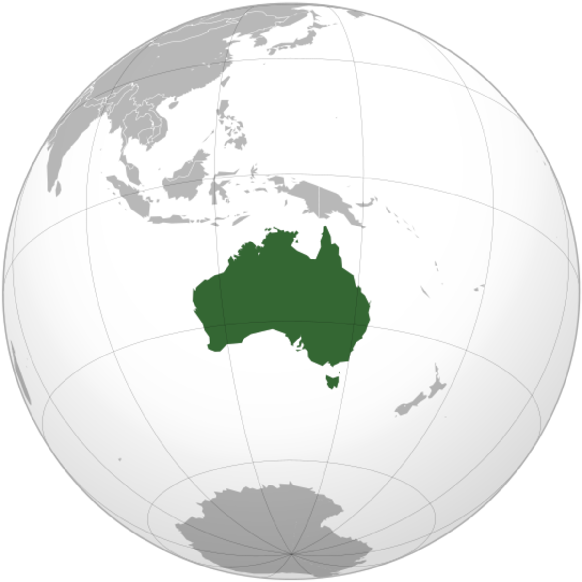 Map showing Australia's location