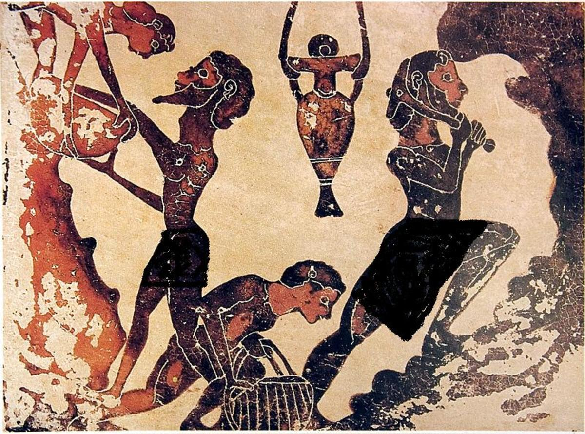 Depiction of slaves in a mine in ancient Greece.