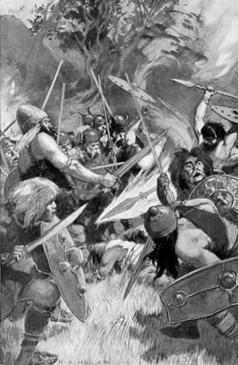 Areadbhair, Spear of Lugh. 1905 illustration by H. R. Millar