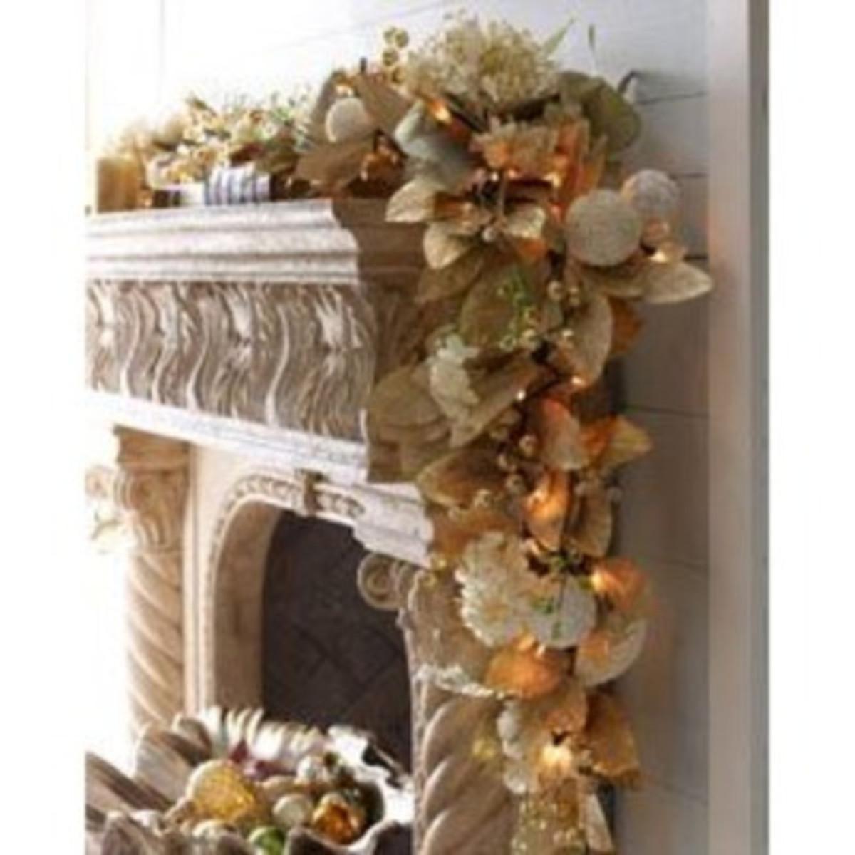 seaside Christmas mantle garland
