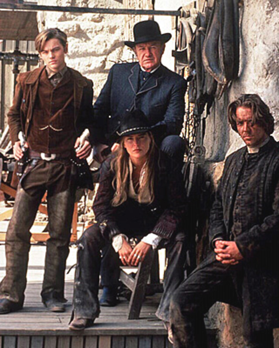 DiCaprio, Hackman, Stone and Crowe - the four leads in The Quick and the Dead