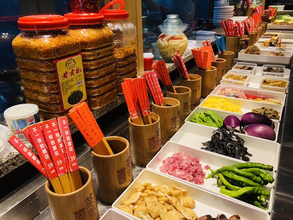 Reproductions of dishes in a restaurant in Changsha, Hunan, China