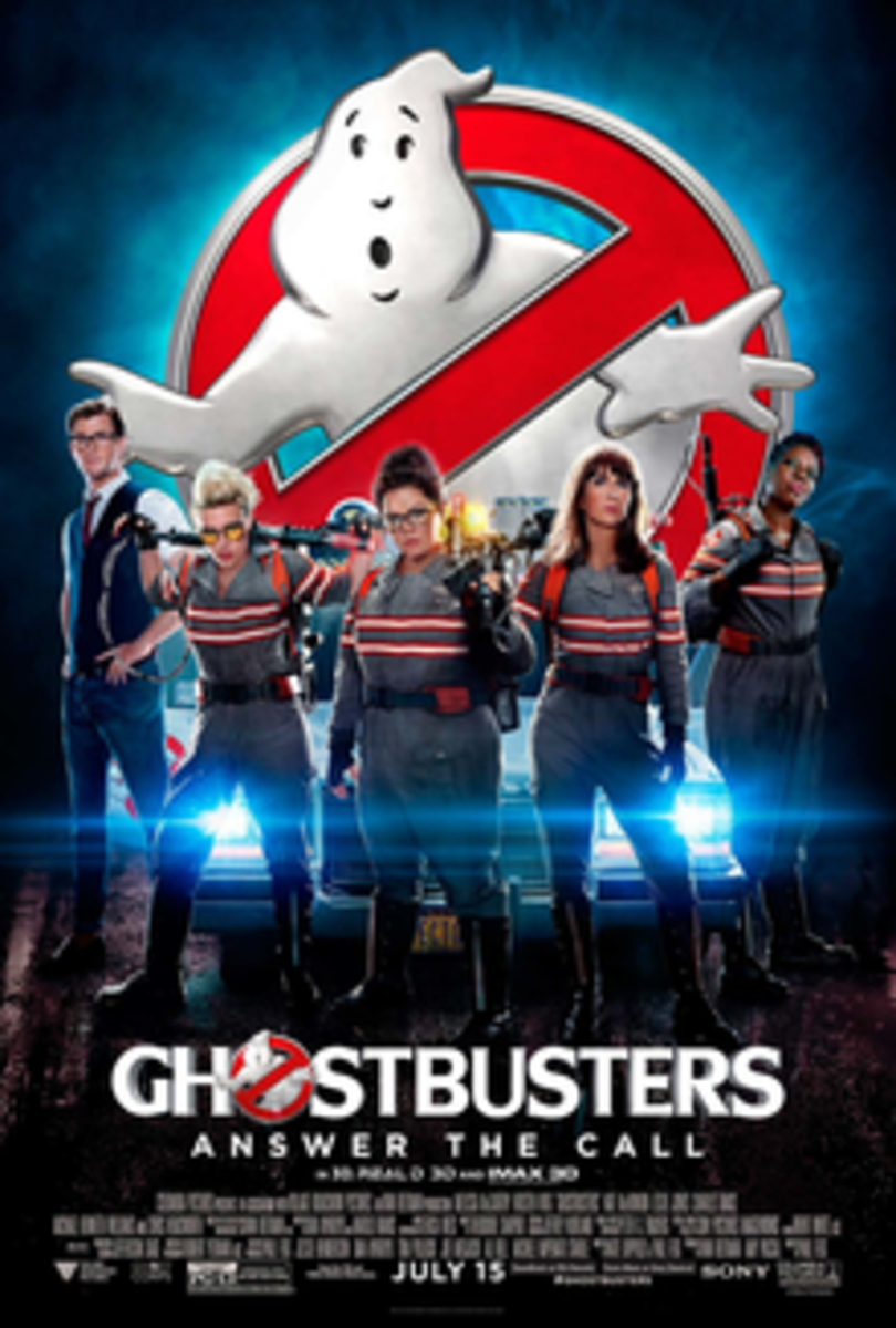 Theatrical release poster for the Ghostbusters reboot.