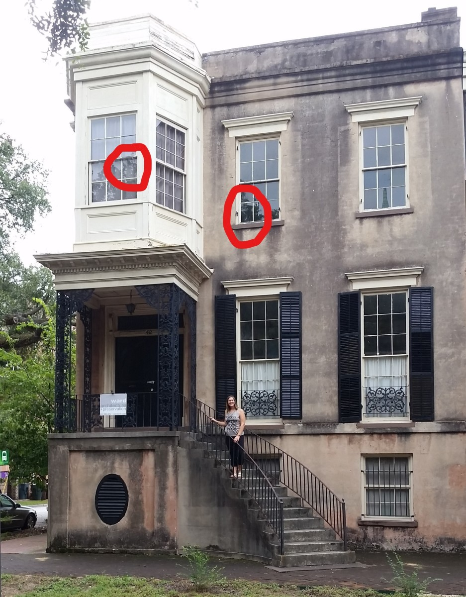 Reader, Patti Weckworth, took this photo of her daughter at 432 Abercorn. In it there are what appear to be faces looking out from two of the windows. Her phone malfunctioned after taking this photo, and did not work again until she left Georgia.