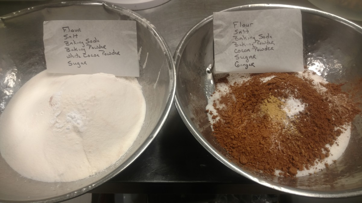 All the dry ingredients. Yes all at once.
