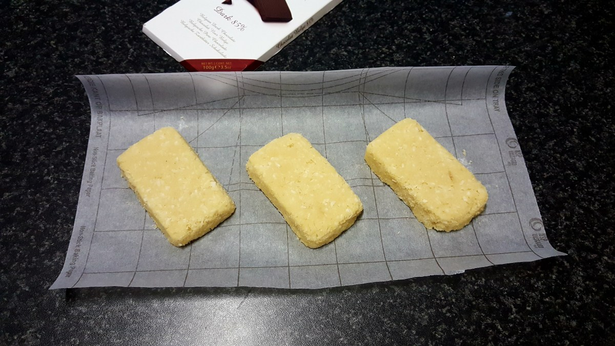 The mixture is shaped into 3 medium sized bars.