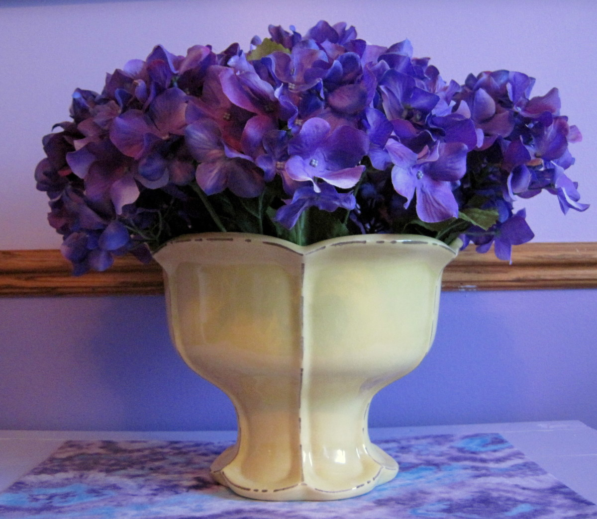 Yellow Vase & Purple Flowers (Decided to keep)
