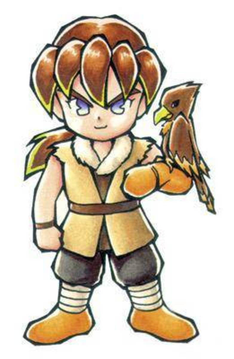 Cliff and his trusty falcon, Cain.